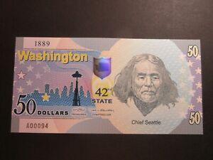 US STATES SERIES POLYMER $50 - 42nd STATE - WASHINGTON 1889 - BRAND NEW