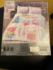 Flamingo Christmas Duvet Set Single Size duvet cover pillowcase Sleepdown