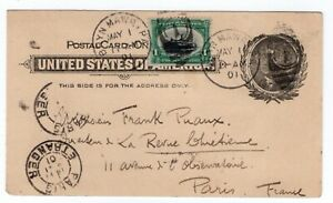#294 Pan American First Day of Issue 1901 on UX14 to Paris France w/ PF Cert