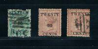 Ceylon 1882 - Surcharges 16¢ on 24¢ & 20¢ on 64¢ - SC 83-84 [SG 142-143] M/U B2