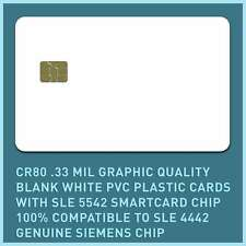 50 x CR80.33 Mil Graphic Quality Blank White PVC, SLE 5542 / 4442 smart cards