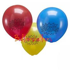 "6 X Superhero Comic Kaboom Red Yellow Blue Latex 11"" Balloons Decoration Party"