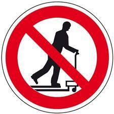 Verbotsschild Mit Hubwagen rollen verboten praxisbewährt Folie Ø 100mm