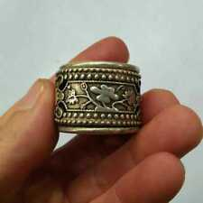 China Old national style Tibet Silver Carve floral designs Thumb Ring