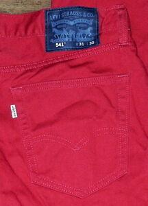 Authentique Levis 541 Coupe Athlétique Taille Moyenne Jambe Fuseau Rouge Jean Sz
