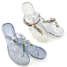 LADIES WOMENS BEADED FLIP FLOPS SANDALS BEACH THONG EVENING SUMMER HOLIDAY JELLY