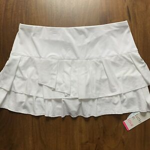 Lucky In Love Women's Size XL / 16 White Pleat Tier Core Tennis Skirt Skort