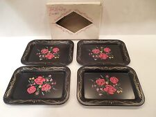 Vintage Boxed Set of 4 Tole Rose Tray Ensemble Dresser Vanity Chippendale Metal