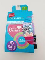 Girls Comfort Blend Premium Briefs - 6 pack - Hanes - Size 6