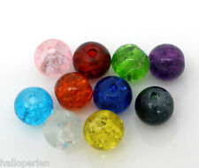 New 200 PCs Mixed Crackle Glass Round Beads Findings 6mm