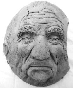 "Handmade Wise Old Man Moon, 8"" Original Folk Art Sculpture by Claybraven"