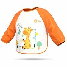 Waterproof Baby Toddler Bib Soft Long Sleeved Aprons Smocks with Pockets for Kid