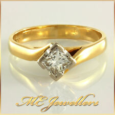 0.40ct Solitaire Princess Cut Diamond Engagement Ring 18K 18ct Solid Yellow Gold