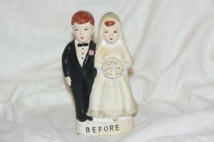 Vintage Wedding Couple Before And After Chalkware Coin Bank