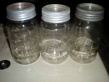 (3) VINTAGE IMPROVED GEM CANADA QUART CANNING JARS W/ GLASS METAL LID