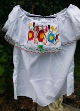 Campesina Mexican Blouse Shirt White Ruffled Off Shoulder Floral Embroidered G5