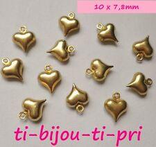 LOT de 25 PENDENTIFS DORE mat perles breloques COEURS HEART 10x7,8mm bijoux