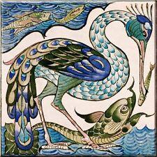 Illustration by William de Morgan ceramic tile 4.25X4.25 inch decorative 1