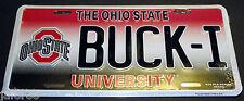 OHIO STATE UNIVERSITY, BUCK-I  METAL CAR TAG, COLLEGE-NCAA, UNI-SEX,ADULT