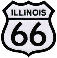 ILLINOIS ROUTE 66 EMBROIDERED PATCH - IRON-ON APPLIQUE Highway Road Sign Biker