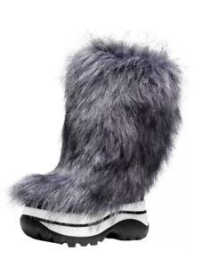 Michael Kors Gamma Faux Fur Cold Weather Mid Calf Boots Platform Grey 6 M $250