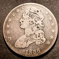 1836 Capped Bust Silver Half Dollar 50c 50/00 Variety O-116 Full Lib Type Coin