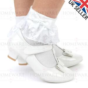 GIRLS COMMUNION SHOES MARY JANE TBAR PATENT WHITE WEDDING FLOWER GIRL SHOE UK8-2