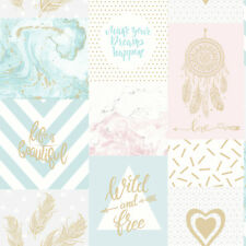 Holden Decor Life Is Quotes Geometric Marble Wallpaper Pink/gold Teal Sample
