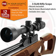 Air rifle scope 3-9x40 / Airgun riflescope + Dovetail mounts. Red/Green reticle