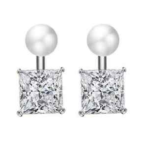 Silver Simulated Pearl Earring