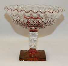 WESTMORELAND GLASS WATERFORD #1932 RUBY STAIN FOOTED COMPOTE CRIMPED WAKEFIELD