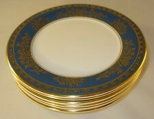"6 Royal Doulton Earlswood Teal Blue Gilded 6 5/8"" Side Cake Tea Plates VGC"