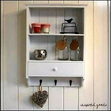 SHABBY CHIC WOODEN VINTAGE SHELF UNIT WITH DRAWER 3 KEY HOOKS WALL STORAGE WHITE