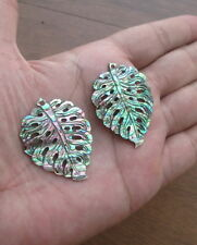 Carved Natural Paua Abalone Shell Leaf Earrings Bead 06181016