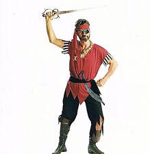 Pirate Man Halloween Adult New Standard Black Red Buccaneer Group Costume