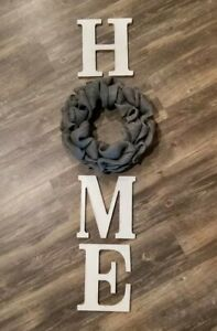 Grey Burlap Wreath & Distressed White Wood Home Letters Wall Farmhouse Rustic