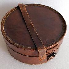 "Vintage leather collar box officers nurses luggage 6"" good quality NEEDS REPAIR"