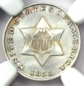 1851 Three Cent Silver Coin 3CS - Certified NGC UNC Details (MS) - Rare Coin!