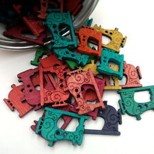 50Pc/Pack Handmade DIY Button Vintage Sewing Machine With Wooden Buttons 26*20mm