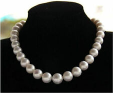 "13-15mm natural tahitian south sea white pearl necklace 18"" 14k"