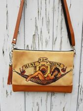 Vintage Pin Up Girl Tattoo Handbag - Sailor Navy Bag Brown