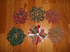 "CHRISTMAS RAG WREATH ORNAMENTS -6 asst'd, 5"" Red & Green,Homespun,Country,Shabby"