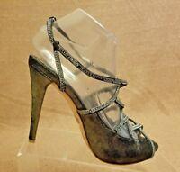 Badgley Mischka Women Silver Black Open Toe High Heels Slingback Shoes Sz 7.5 M