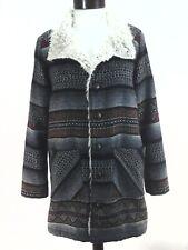 BILLABONG Sherpa Coat Geometric Stripe Black Red Wool Long Jacket Women's L RARE