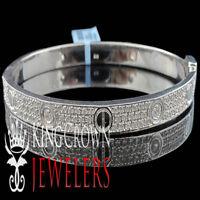 "Men's Ladies New Pure 925 Sterling Silver Designer Bangle Bracelet 7"" White Tone"