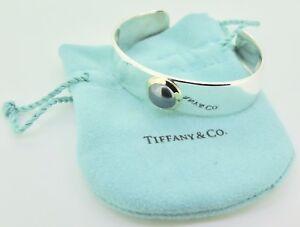 .Auth Tiffany & Co Sterling Silver 18k Gold & Cabochon Hematite Set Cuff Bangle