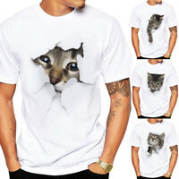 Summer Cartoon White Cat T-shirt Men Short Sleeve Cotton Casual Tee Tops Blouse