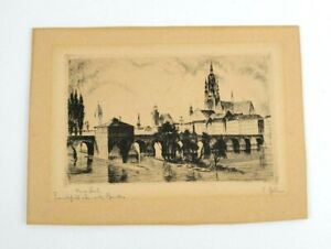 Lithograph? Etching?  - Foreign Town Scene w/ Bridge - Signed 7x5