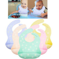 Boy Girls Silicone Baby Bibs BPA Free Waterproof Soft Durable Adjustable Babies