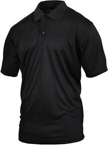 Black Tactical Polo Shirt Moisture Wicking Quick Dry Golf Uniform Top